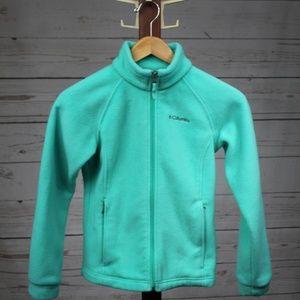 Columbia Teal Fleece Full Zip Sweater